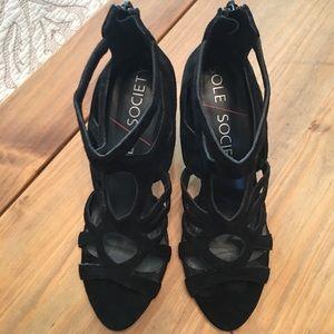 Sole Society Black Suede Caged Heels 👠